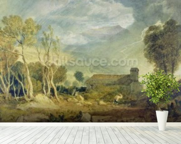 Patterdale Old Church, c.1810-15 (w/c over graphite on paper) wall mural room setting