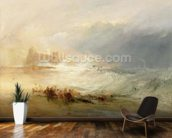 Wreckers - Coast of Northumberland, With a Steam Boat Assisting a Ship off Shore, 1834 (oil on canvas) wallpaper mural kitchen preview