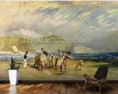 Folkestone Harbour and Coast to Devon, c.1830 (w/c and gouache on paper) mural wallpaper kitchen preview