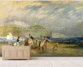Folkestone Harbour and Coast to Devon, c.1830 (w/c and gouache on paper) mural wallpaper living room preview