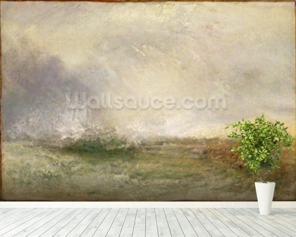 Stormy Sea Breaking on a Shore, 1840-5 (oil on canvas) wallpaper mural room setting