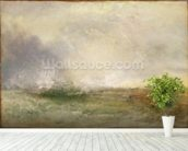 Stormy Sea Breaking on a Shore, 1840-5 (oil on canvas) wallpaper mural in-room view