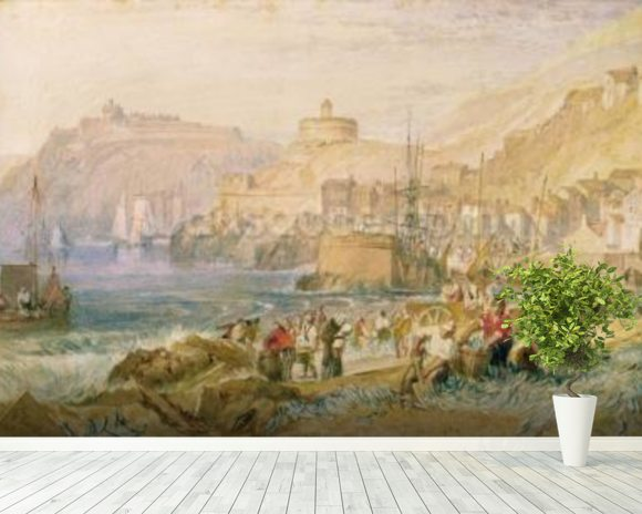 St. Mawes, Cornwall, c.1823 (w/c on paper) mural wallpaper room setting