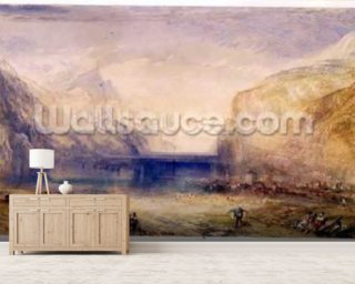 Fluelen: Morning (looking towards the lake) 1845 (w/c and gouache with scratching out on wove paper) mural wallpaper