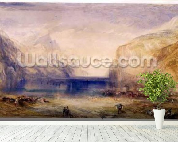 Fluelen: Morning (looking towards the lake) 1845 (w/c and gouache with scratching out on wove paper) mural wallpaper room setting