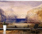 Fluelen: Morning (looking towards the lake) 1845 (w/c and gouache with scratching out on wove paper) mural wallpaper kitchen preview