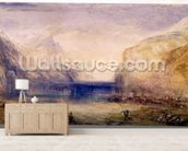 Fluelen: Morning (looking towards the lake) 1845 (w/c and gouache with scratching out on wove paper) mural wallpaper living room preview