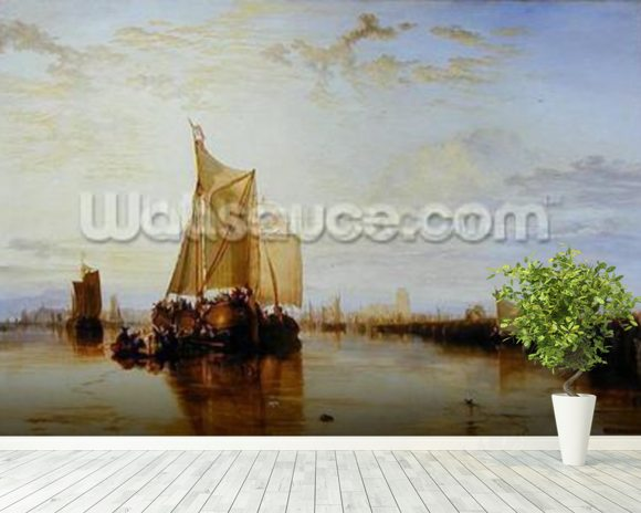 Dort or Dordrecht: The Dort Packet-Boat from Rotterdam Becalmed, 1817-18 (oil on canvas) wall mural room setting