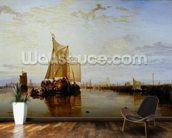 Dort or Dordrecht: The Dort Packet-Boat from Rotterdam Becalmed, 1817-18 (oil on canvas) wall mural kitchen preview