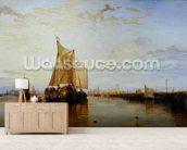Dort or Dordrecht: The Dort Packet-Boat from Rotterdam Becalmed, 1817-18 (oil on canvas) wall mural living room preview
