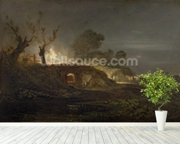 A Lime Kiln at Coalbrookdale, c.1797 (oil on panel) wallpaper mural room setting