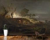 A Lime Kiln at Coalbrookdale, c.1797 (oil on panel) wallpaper mural kitchen preview