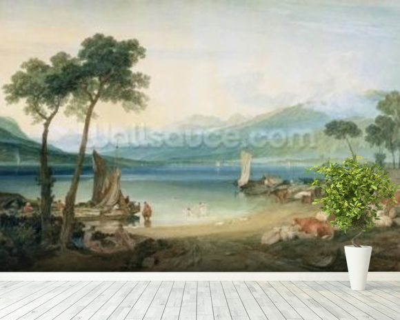 Lake Geneva and Mont Blanc, 1802-5 (w/c with scraping out, pen and ink on wove paper) wall mural room setting