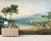 Lake Geneva and Mont Blanc, 1802-5 (w/c with scraping out, pen and ink on wove paper) wall mural living room preview