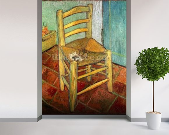 Vincents Chair, 1888 (oil on canvas) mural wallpaper room setting