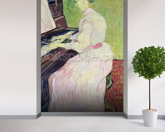 Marguerite Gachet at the Piano, 1890 (oil on canvas) wall mural room setting