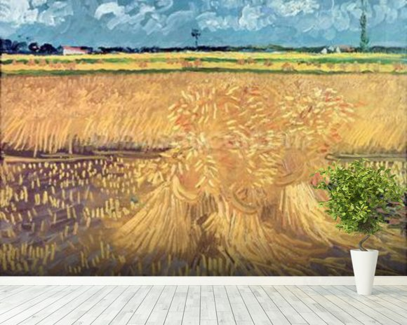 Wheatfield with Sheaves, 1888 (oil on canvas) mural wallpaper room setting