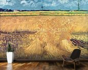 Wheatfield with Sheaves, 1888 (oil on canvas) mural wallpaper kitchen preview