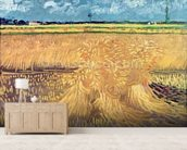 Wheatfield with Sheaves, 1888 (oil on canvas) mural wallpaper living room preview