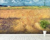 Wheatfield with Sheaves, 1888 (oil on canvas) mural wallpaper in-room view