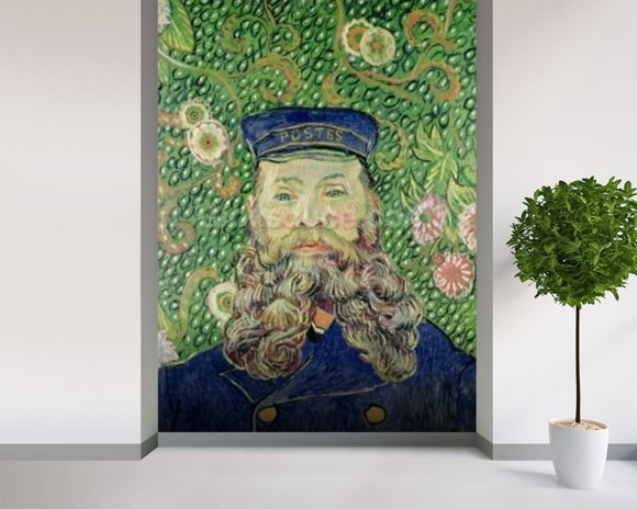 Portrait of the Postman Joseph Roulin, 1889 (oil on canvas) wallpaper mural room setting