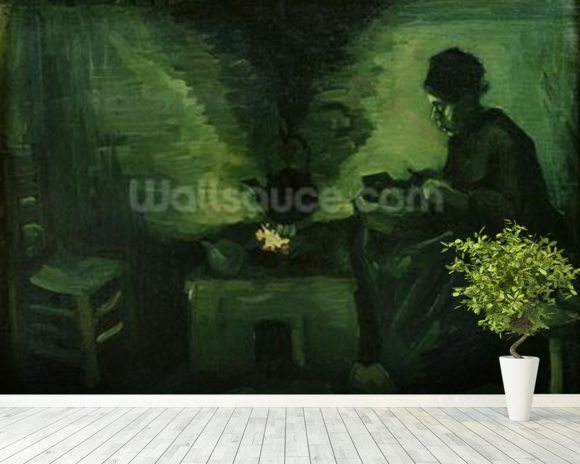Peasant Woman by the Hearth, c.1885 (oil on canvas laid on board) wallpaper mural room setting