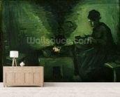 Peasant Woman by the Hearth, c.1885 (oil on canvas laid on board) wallpaper mural living room preview