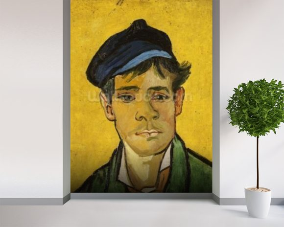 Young Man with a Hat, 1888 (oil on canvas) mural wallpaper room setting