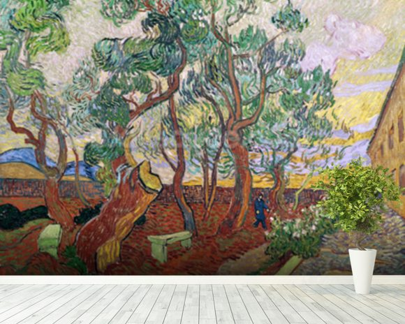 The Garden of St. Pauls Hospital at St. Remy, 1889 (oil on canvas) wall mural room setting