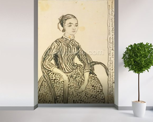 Portrait of a Young Girl, 1888 (ink on paper) wallpaper mural room setting
