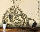 Portrait of a Young Girl, 1888 (ink on paper) wallpaper mural kitchen preview