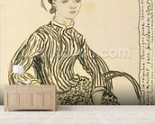 Portrait of a Young Girl, 1888 (ink on paper) wallpaper mural living room preview