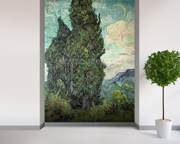 Cypresses, 1889 (oil on canvas) mural wallpaper room setting
