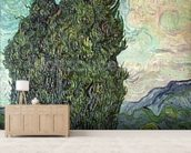 Cypresses, 1889 (oil on canvas) mural wallpaper living room preview