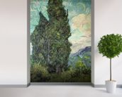 Cypresses, 1889 (oil on canvas) mural wallpaper in-room view
