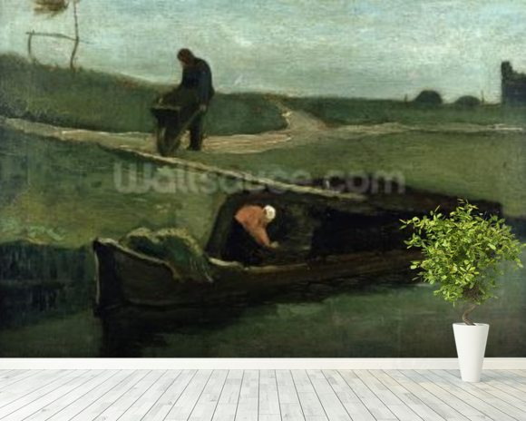 The Peat Boat, 1883 (oil on canvas) wallpaper mural room setting