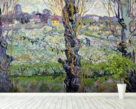 View of Arles, 1889 (oil on canvas) wall mural room setting