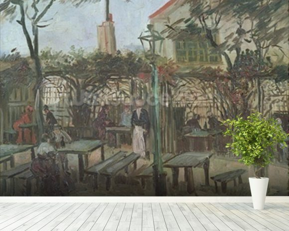 Pleasure Gardens at Montmartre, 1886 (oil on canvas) mural wallpaper room setting