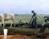 Labourer and Peasant Planting Potatoes, 1884 (oil on canvas) wall mural kitchen preview