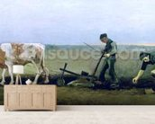 Labourer and Peasant Planting Potatoes, 1884 (oil on canvas) wall mural living room preview