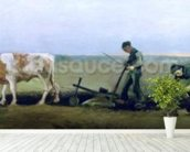 Labourer and Peasant Planting Potatoes, 1884 (oil on canvas) wall mural in-room view