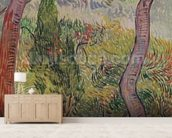 The Park at the Saint-Paul Hospital, 1889 (oil on canvas) wallpaper mural living room preview