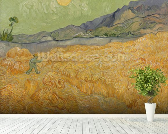 Wheatfield with Reaper, 1889 (oil on canvas) wallpaper mural room setting