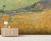 Wheatfield with Reaper, 1889 (oil on canvas) wallpaper mural living room preview