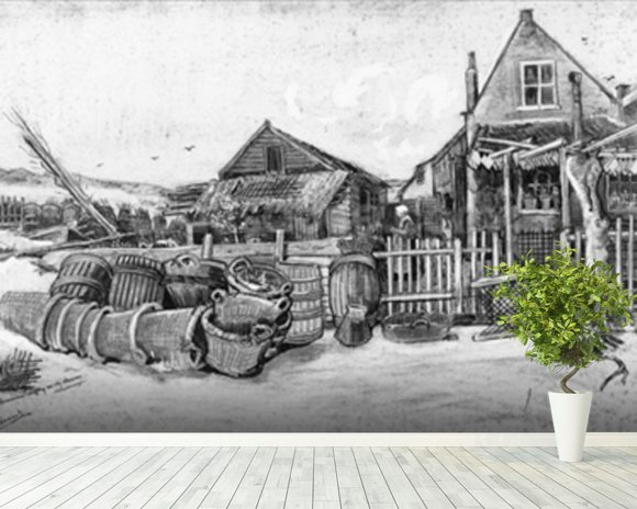 The fish drying barn at Scheveningen, c.1882 (pencil on paper) (b/w photo) mural wallpaper room setting