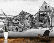 The fish drying barn at Scheveningen, c.1882 (pencil on paper) (b/w photo) mural wallpaper kitchen preview