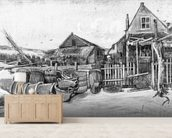 The fish drying barn at Scheveningen, c.1882 (pencil on paper) (b/w photo) mural wallpaper living room preview