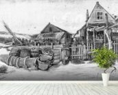 The fish drying barn at Scheveningen, c.1882 (pencil on paper) (b/w photo) mural wallpaper in-room view