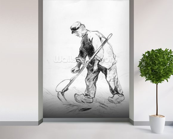 Reaper (pencil on paper) (b/w photo) wall mural room setting