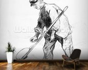 Reaper (pencil on paper) (b/w photo) wall mural kitchen preview